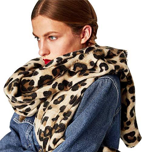Superora Bufanda Chal Manta Mujer Invierno Mantón Fular Grande Enorme Cachemira Leopardo 200 * 90cm
