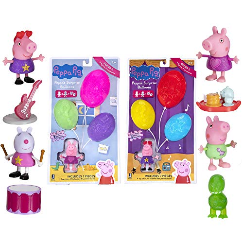 Peppa Pig Surprise Balloons, 2 Bundle Pack - Music and Night Time Theme, Series 2 - Includes 2 Exclusive Character Toy Figures, 1 Themed Accessory, and 1 Glitter Surprise