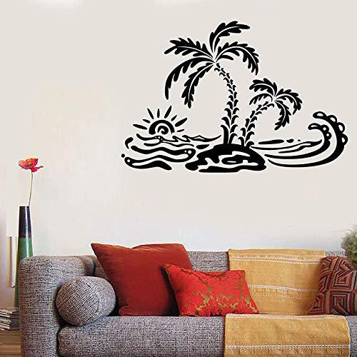 Mrlwy Etiqueta de la pared del estilo de la playa Verano Palm Island Ocean Waves Art Vinilo Etiqueta de la ventana Adolescentes Dormitorio Baño Decoración de la casa Papel tapiz 57x38cm