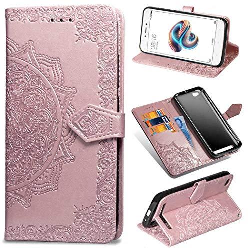 Ycloud Billetera Funda para Xiaomi Redmi 5A Smartphone, PU Cuero Flip Magnético Carcasa con Soporte y Ranura para Tarjeta Estampado Mandala Relieve (Oro Rosa)