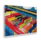 Giallobus - Cuadro - Piano Colorido - Lienzo - 70x50 - Listo para Colgar - Cuadros Modernos para el hogar