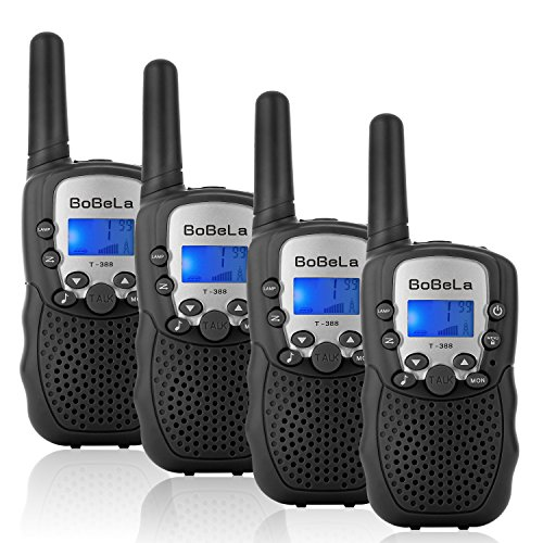 Bobela T388 Best Cool Walkie Talkies as Christmas Stocking Fillers Gifts for Teenage/Twin Way Radio Toys for Kids Hunting/Long Range Walky Talky with Light for Adults Cruise Ship (Black 4 Pack)