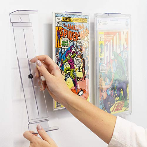 Comic Mount Comic Book Frame, Wall Mount and Shelf Stand, Invisible and Adjustable, 4 Pack