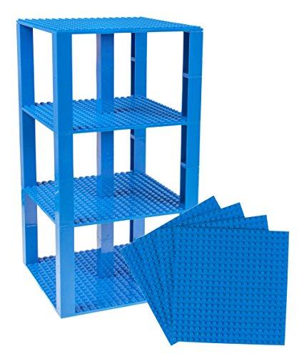 Strictly Briks Pack de 4 Bases y 30 Piezas apilables con Ladrillos separadores 2 x 2 - Construcción en Forma de Torre - Compatible con Todas Las Marcas - Azul - 15,24 x 15,24 cm