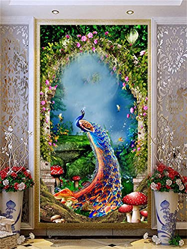 Kit completo per Diamante Pittura a mosaico Fai da Te 5D pavo real Diamond Painting Grandi Dimensioni kit per Adulti bambini per la Decorazione Della Parete di Casa -Round_drill_40x80cm
