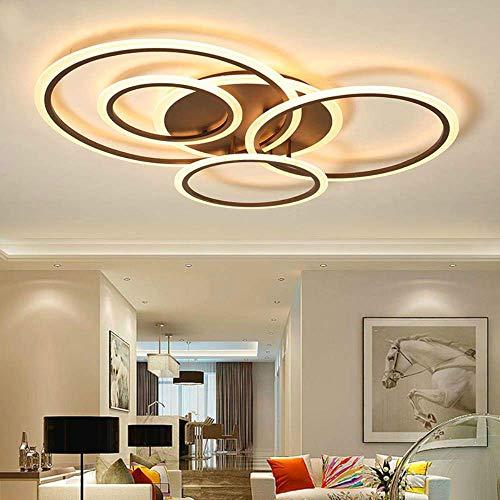 MJK Novedad Lámpara de techo, lámpara de araña LED moderna montada en superficie para sala de estar, dormitorio, comedor, cocina, círculos de brillo, iluminación de lámpara de techo LED, marco blanco