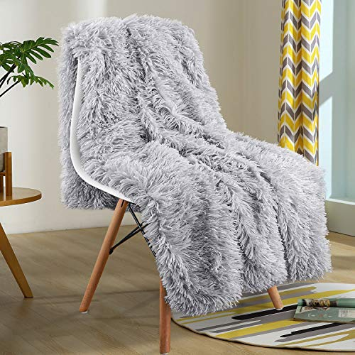 YOH Super Soft Fuzzy Shaggy Sherpa Blanket, Luxury Fluffy Faux Fur Couch Bed Throws Cozy Plush Blanket, Gifts for Baby Shower Girls Friends Birthday Party Photo Props,(60x50 Inches) Silver Grey