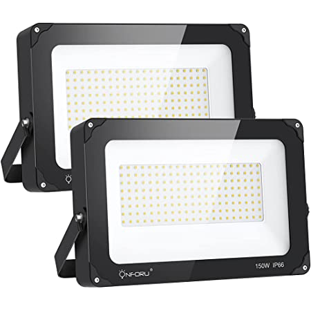 Onforu 150W LED Flood Light Outdoor, 15000LM Super Bright Security Light, IP66 Waterproof Outdoor Floodlight, 2 Pack 5000K Daylight White LED Exterior Light for Basketball Court, Stadium, Playground