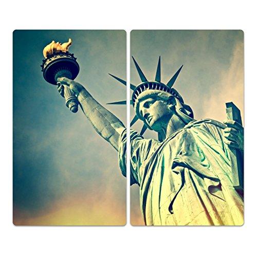 DekoGlas Herdabdeckplatten Set inkl. Noppen aus Glas 'Freiheitsstatue', Herd Ceranfeld Abdeckung, 2-teilig universal 2X 52x30 cm