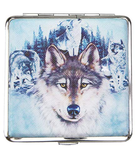 Caripe Zigarettenetui Damen Herren 20 Zigaretten Zigarettenbox Retro Vintage - GR (Wolf 3)