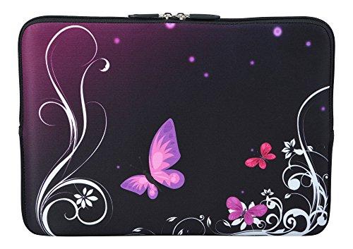 MySleeveDesign Laptoptasche Notebooktasche Sleeve für 10,2 Zoll / 11,6-12,1 Zoll / 13,3 Zoll / 14 Zoll / 15,6 Zoll / 17,3 Zoll - Neopren Schutzhülle mit VERSCH. Designs - Butterfly Light [11-12]