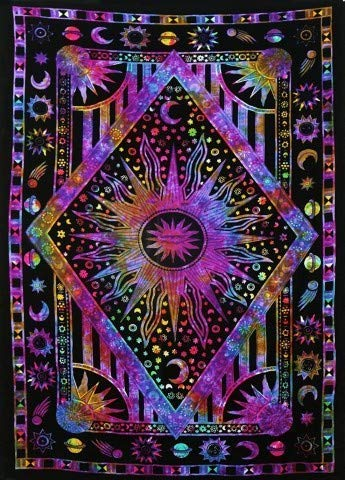 Tapestry Wall Hanging Burning Sun Tapestry, Celestial Sun Moon Planet Bohemian Tapestry Indian Hippie Tapestry Bohemian Bedspread Bedding Decor (Twin ( 54X85 inches approx), multi and purple)