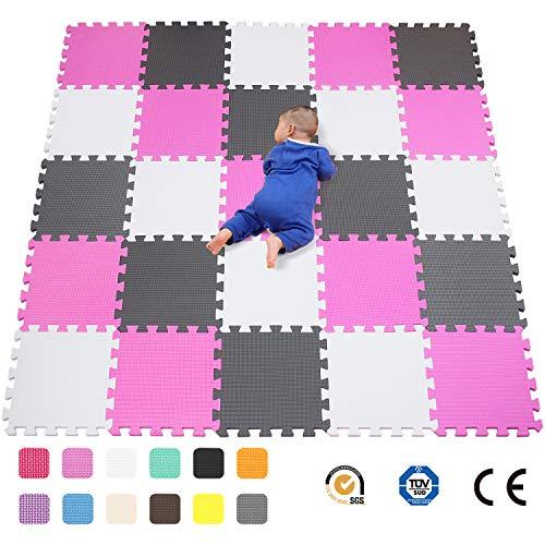 qqpp Alfombra Puzzle para Niños Bebe Infantil - Suelo de Goma EVA Suave. 25 Piezas (30*30*1cm), Blanco, Rosa, Gris.QQC-ACLb25N