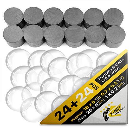 Magneti in Ceramic - Cabochon in Vetro 2,5 cm e Magneti Industriali Neri 1,7 cm - Magneti Bambini Rotondi con Magnete Potente - Mini Calamite Sottili - Magneti Frigo - Set Calamite