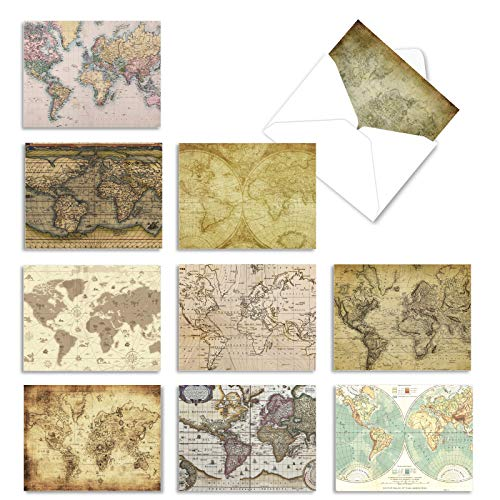 The Best Card Company - 10 Assorted Greetings Cards Blank (4 x 5.12 Inch) - Bulk Notecard Bundle - Map Quests M3076sl