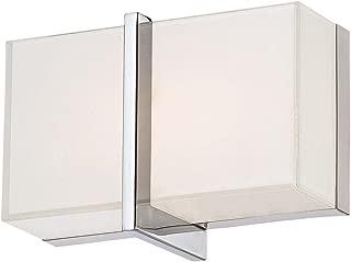 Minka Lavery Modern Wall Sconce Lighting 2921-77-L High Rise Bath Glass Damp Bath Vanity Fixture, 1 Light LED, Chrome