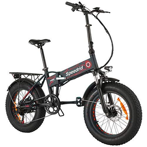 Speedrid Folding Ebike Fat Tire Electric Bike Snow Bike 20' 4.0, 500W Powerful Motor, 36V 12.5Ah Removable Battery and Professional 6 Speed