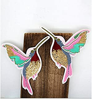 1pair 3-D Sequins Embroidered Birds Iron On Patches (6.7x7.5inch) (Style B)