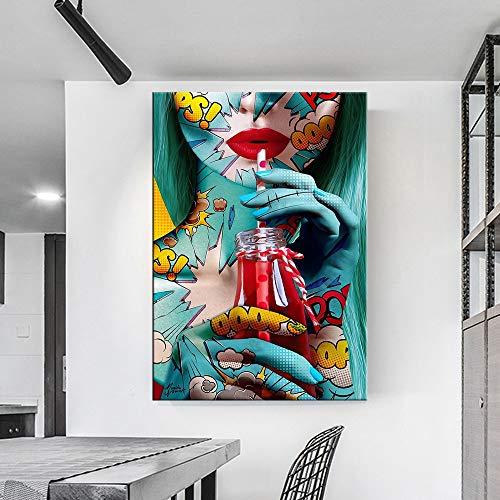 ganlanshu Moderne Graffiti Straße künstlerische Frau Poster und Leinwanddrucke schmücken Wohnzimmer Schlafzimmer,Rahmenlose Malerei,75x103cm