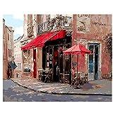 DIY Pintura al óleo DibujoPaisaje quadri da parete DIY Pintura al óleo digital sobre lienzo Acrílico Coloreado por números Ocio calle cafetería