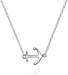 Minimalist Tiny Nautical Diagonal Sideways Boat Anchor Pendant Necklace For Teen For Women 925 Sterling Silver