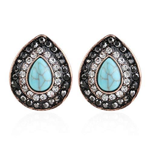 YDMZMS Luxus Zeichnung Harz Ohrringe für Frauen Antike Roségold Farbe Schwarz Kristall Wassertropfen Ohrring Retro Schmuck Blau Antik Vergoldet