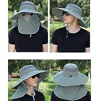 JYXMY 男性と女性の釣りキャップ屋外の日焼け止めUPF 50+ UV日焼け止め取り外し可能なネックフラップマスクと防風ストリップ屋外スポーツと旅行日帽子帽子日焼け止め釣り 漁師の帽子ハイキングキャップ (Color : Gray green)
