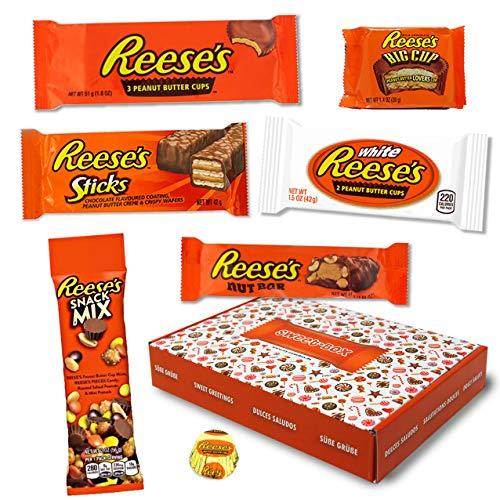 Reeses - Sweet-Box - Geschenkkorb | 7 verschiedene amerikanische Süßigkeiten | Peanut Butter Cups in Vollmilch und weißer Schokolade | USA Reese Sticks, Nut Bar, White, Big Cup usw.