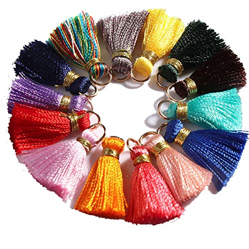 Gsyamh Mini Borlas Colores Multicolor Colgantes de Borlas Joyas Colgante de Borla Decoración Accesorios para Decoración Pulseras Collar y Varias Joyas Práctico Pequeña Exquisito (Rayón)