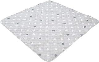【キラキラお星様デザイン】 プレイマット ベビー 正方形 滑り止め付き 星柄 グレー かわいい 子ども キッズ 遊び場 140×140cm