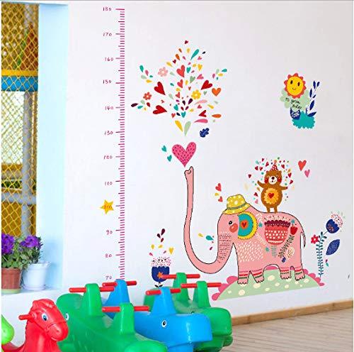 Rose Big Elephant Jouer Animaux D'eau Zoo Autocollants Muraux Hauteur Règle Mesurer Enfants Chambre Pépinière pour la Décoration de Fête 130 * 120 cm