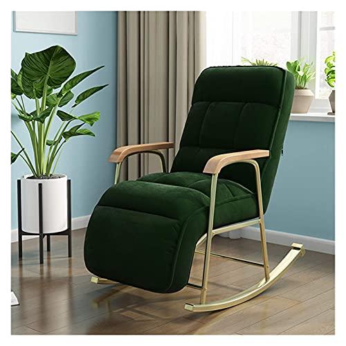 DGDF Rocking Chair European Modern Balcony Armchair Living Room Furniture Lazy Sofa Recliner Bedroom Lounge Chair,Dark Green