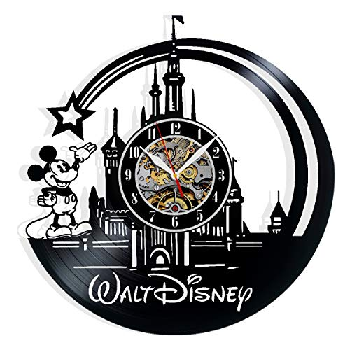 Disney Mickey Mouse Vinyl Record Wall Clock Art Home Decor Interior Design Best Gift for Fans Room Wall Art