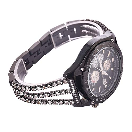 Watch Straps compatible Samsung Galaxy 46mm,S3 Frontier/Classic Women Glitter Stainless Steel Band,22mm Black Bracelet with Folding clasps Replacement Wristband for Samsung S3/Moto 360 2nd