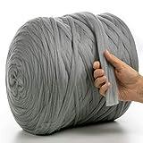 MeriWoolArt 100% lana de merino para punto y ganchillo con hilo de 2 cm de grosor, lana de merino gruesa para bufanda, manta y cojín XXL (acero, 100 g)