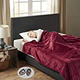 Woolrich Heated Plush to Berber Electric Blanket Throw Ultra Soft Knitted, Super Warm and Snuggly Cozy with Auto Shut Off and Multi Heat Level Setting Controllers, Queen: 84x90, Garnet