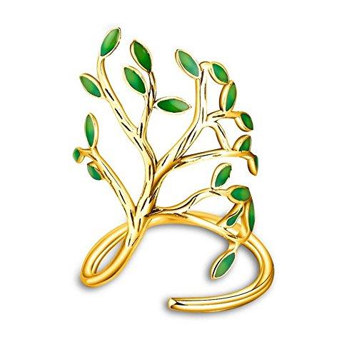 Uloveido Life Tree Anillos para Mujeres con Hojas de Esmalte Verde para la Primavera de tamaño Ajustable HR303