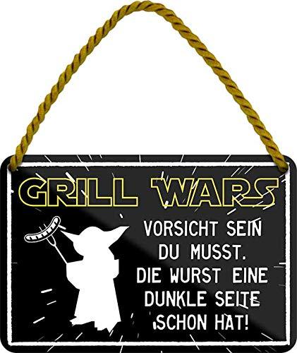"""Blechschilder Lustiger Grill Spruch """"Grill Wars – Vorsicht Sein DU MUSST. DIE Wurst EINE DUNKLE Seite Schon HAT!"""" Deko Schild Geschenkidee für Garten 18x12 cm"""