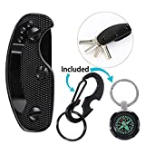 Carbon Fiber Key Organizer, 1Pcs Smart Aluminum Pocket Keychain Holder Compact Keys Holder for Key, EDC Gear, Knife Blade, Key Tags, Black
