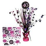 Feste Feiern Tischdeko zum 40. Geburtstag I 46cm Tischaufsteller Kaskade Tischaufsatz metallic Zahl...
