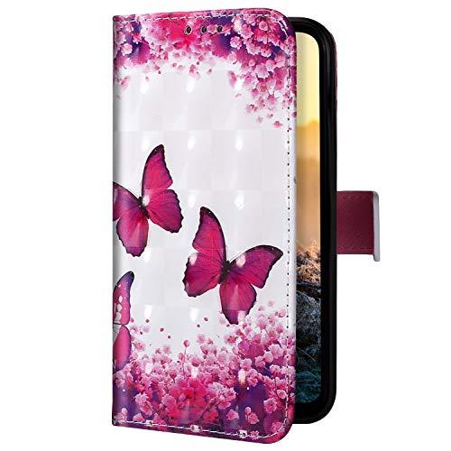 Uposao Kompatibel mit Samsung Galaxy A20 Core Handyhülle Handytasche Glitzer Bling Glänzend Bunt Muster Schutzhülle Flip Case Brieftasche Klapphülle Leder Hülle Cover,Schmetterling Kirschblüte
