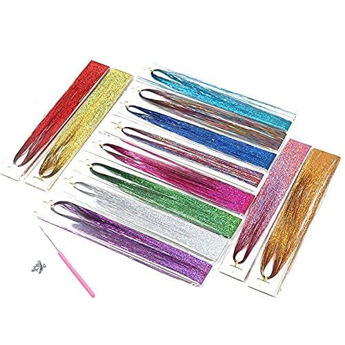 CO 12 Couleurs Cheveux Tinsel Brins Extensions de Cheveux colorés Synthétique Long postiche, pour Filles Femmes Enfants Fête Cheveux Longues