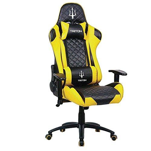 Triton p050-x3-by Gaming Chair-sedia, Piel sintética, Negro/Amarillo, 70x 65x 125cm