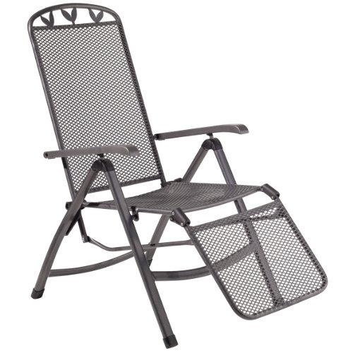 greemotion Relaxsessel Toulouse eisengrau, Stuhl mit 5-fach Verstellung und Fußteil, Gartenstuhl aus schmutzunempfindlichem Streckmetall, witterungsbeständig und pflegeleicht