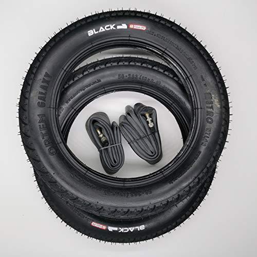 Black1 2x12 Zoll Galaxy Reifen mit DV Schläuche | | Zoll/Maß: 12 x 2.0 | ETRTO 50-203 Decke Mantel Fahrrad Buggy Kinder Roller Anhänger Dunlop- Blitzventil