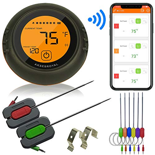 AKSESROYAL Wireless Meat Thermometer for Grilling 6 Probes Digital Cooking BBQ Bluetooth Thermometer for Smoker Oven Meat Thermometer Magnet Timer Alarm for Kitchen Food Perfect Gift