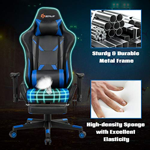 Goplus Massage Gaming Chair with Light, Reclining Backrest Handrails and Seat Height Adjustment Racing Computer Office Chair with Footrest, Ergonomic High Back PU Swivel Game Chair