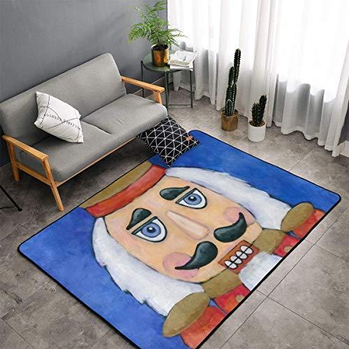 Teppich für Esszimmer, Wohnzimmer, Schlafzimmer, rutschfest, weich, maschinenwaschbar, 1,5 x 0,9 m, Nussknacker-Blau