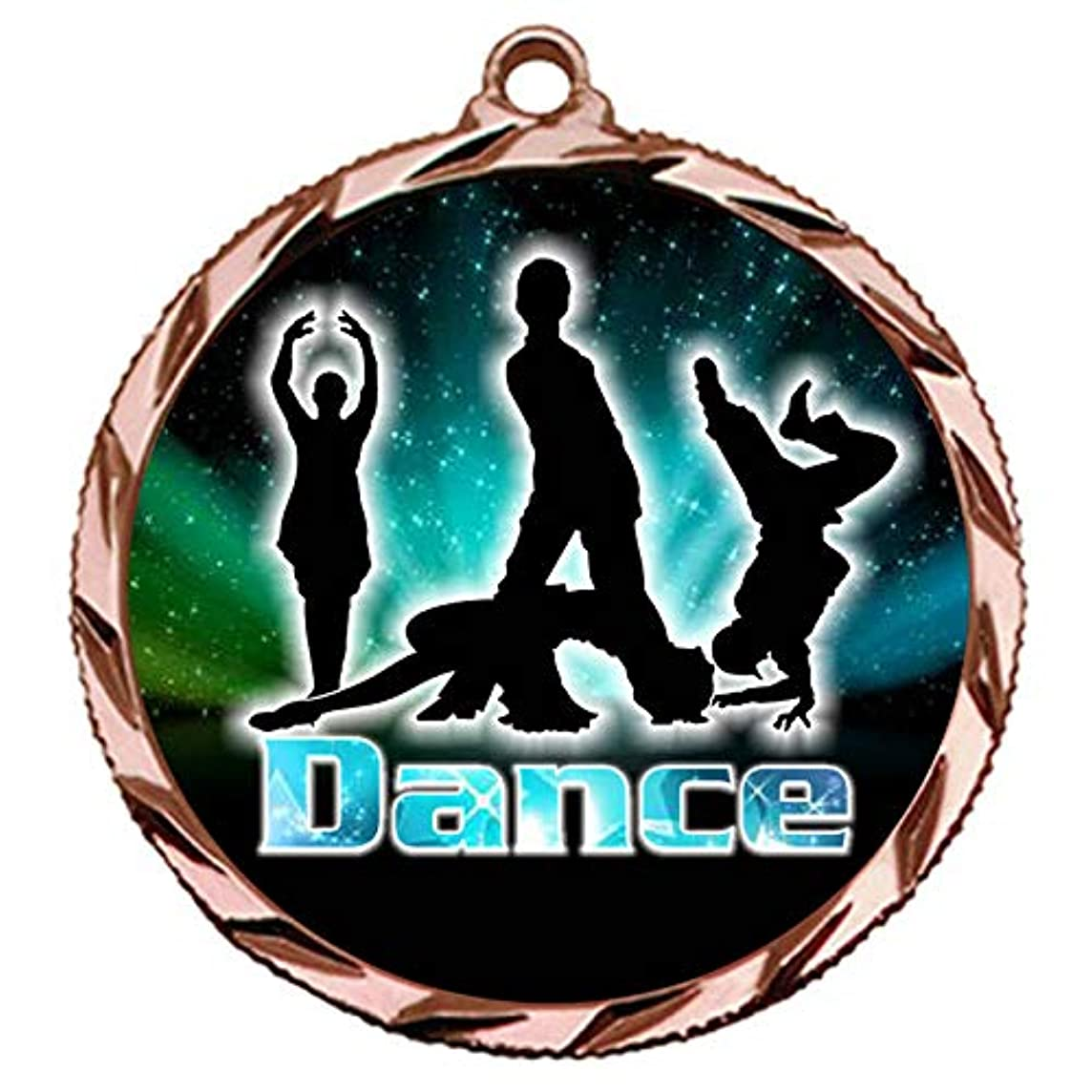 Express Medals Bronze 3rd Place Dance Battle Medal with 3 Lines of Personalized Engraving and Neck Ribbon Award Trophy 022B