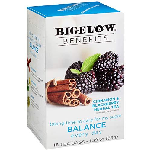Bigelow Benefits Balance Cinnamon and Blackberry Caffeine-Free Herbal Tea, 18 Count (Pack of 6), 108 Tea Bags Total